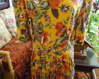 Vintage 1970's Golden Yellow in Flowers Dress by  Karen Stevens
