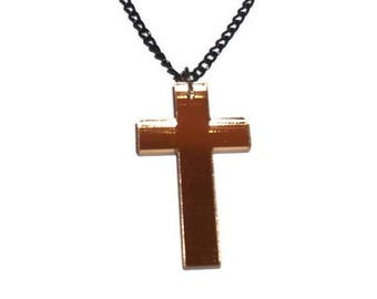 Gold Mirror Cross Necklace, Laser Cut Perspex Necklace, Goth