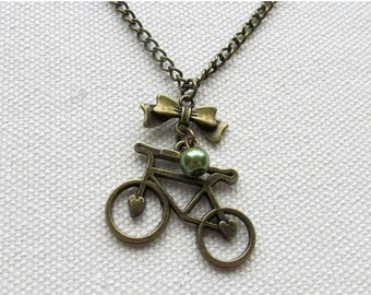 Bronze Bicycle Necklace Bike Charm Cyclist Necklace Vintage Style Retro Jewelry Olive Glass Pearl