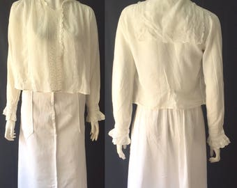 Edwardian broderie anglaise lace blouse with sailor collar