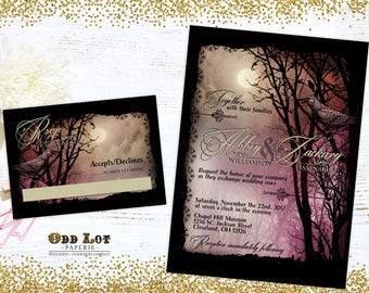 Halloween Wedding Set Edgar Allen Poe Inspired Halloween Wedding Goth Wedding Halloween Party Invite DIY Printable Halloween Wedding Set