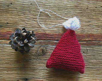 Red Tree Ornament- Red, White- Christmas Decoration- Miniature Knitted Ornament- Ready To Ship
