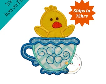 Large duck tea party- iron embroidered fabric applique patch embellishment- ready to ship