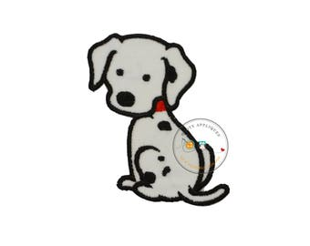 Small Dalmatian puppy - iron embroidered fabric applique patch embellishment-