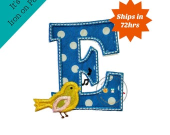 Letter E with song bird and white/green trim - iron embroidered fabric applique patch embellishment- ready to ship