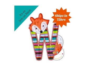 ON SALE NOW Woodland fox letter W machine embroidered iron on no sew patch, fox embroidered monogram letter w, ready to ship