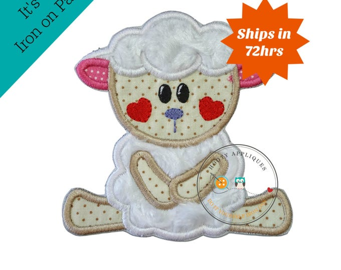 Sweet plush sheep, holiday 3D sheep with heart cheeks, embroidered fabric mink applique, diy boutique, ready to ship, pre-made