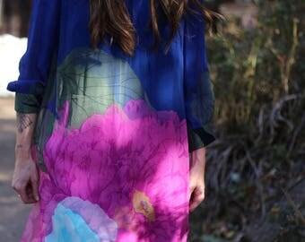 Vintage 60s IMAGNIN dress- flowery dream - silk - large flower print - Size Small