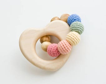 Pastel Rainbow Wooden Teething Ring, Wooden Rattle, Baby Toy - New Baby Gift, Shower Gift - FrejaToys