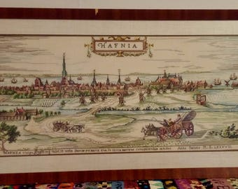 "Vintage Framed Needlepoint Depiction of ""Prospects of Copenhagen"" 1587"