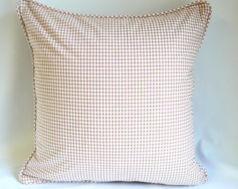 """Small pink green plaid, 20"""" pillow"""
