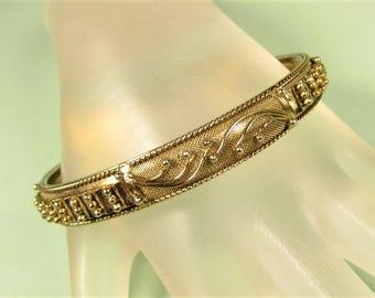 Mesh Bangle Bracelet - Vintage 10 k Gold Plated Dot Vine