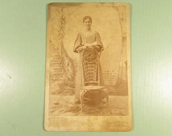 Woman Cabinet Card - Vintage Standing Chair Stair Backdrop Photograph