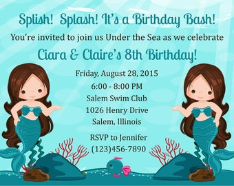 Mermaid Themed Invitation - Twins/Siblings/For Two - Mermaid Birthday Invitation Twins/Siblings - Mermaid Invitation for siblings