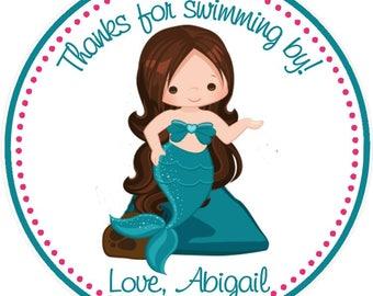 Mermaid Favor Tag - Mermaid Birthday Favor Tags - Set of 12 / Mermaid Party Favors, Mermaid Favors, Under the sea birthday favors