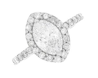 1.60ctw Natural Marquise Halo Pave Diamond Engagement Ring - GIA Certified