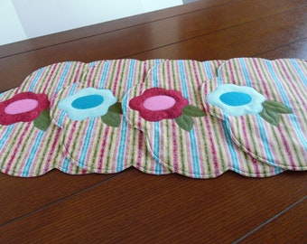 Placements, flowered placemats, round flowered placements,spring placemats, Easter placemats, Mother's day placemats, colorful placemats