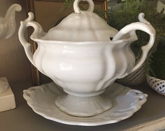 Beautiful Antique 1800's Ironstone Soup Tureen antique White Ironstone Petrus Regout & Co Maastricht