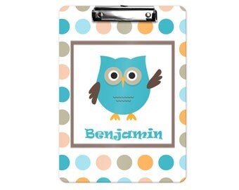 Owl Personalized Kids Clipboard - Owl Blue Green Coral Dots, Single Sided or Double Sided Custom Clipboard Back to School