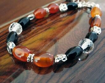 Carnelian Agate Bracelet, Black Onyx Bracelet, Carnelian Bracelet, Mystical Moon Designs, Beaded Jewelry, Earthy Bracelet, Rustic Jewelry
