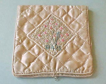 Charming Embroidered Satin Handkerchief Bag-1938-Soft Peach and Aqua