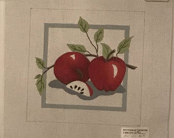 """Clearance - """"Apples"""" Handpainted Needlepoint Canvas by Bettie Ray Designs"""