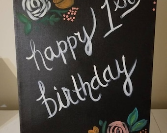 First Birthday/chalkboard/flowers/vintage/girl
