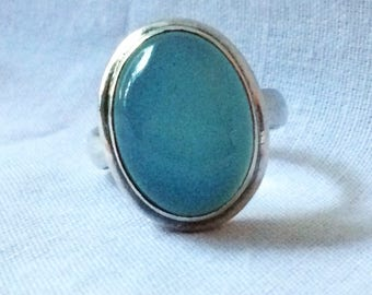 Blue Agate Blue Chalcedony Sterling Silver Large Oval Statement Ringq