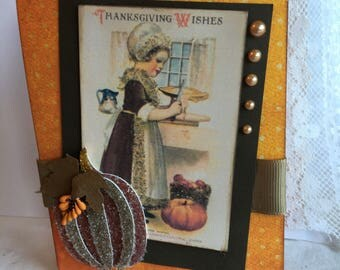Thanksgiving Greetings~~~Heirloom Style Give Thanks Card~~~