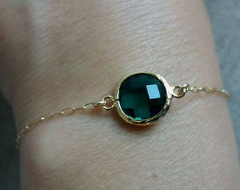 Emerald Green Bracelet. Gold Filled Bracelet. Layering Delicate Modern Dainty Jewelry. Gift For Her. Christmas Gift