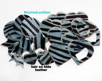 Leather pieces hair on hide die cut 22 pieces hair on hide animal print lot # 88