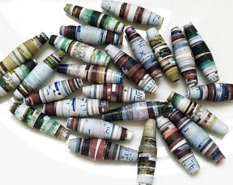 eco friendly earthy tones land and sea multi colored handmade paper beads--lot of 26
