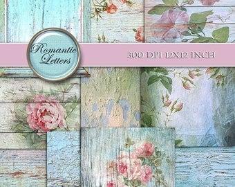 Sale 60% Digital scrapbook background paper floral digital paper Shabby chic paper rose digital wedding background decoupage printable backg