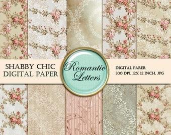 Sale 60% Digital Scrapbook Paper Pack floral digital paper rose Floral Shabby Chic digital printable doll house wallpaper backdrop backgroun