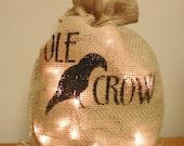 Lighted Burlap Bag, Primitive Decor, Country Farmhouse Accents