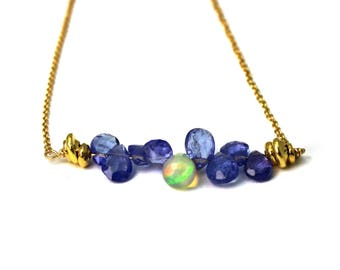 Bridesmaid Gift. Wedding Color Match Service. Ethiopian Opal necklace.  Bar Necklace. Tanzanite Necklace. NS-1919-2