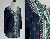 SUMMER SALE Vintage 1980's Boho Indian Cotton Tunic Top - Blue Batik Print Blouse - Festival blouse - ladies size Large