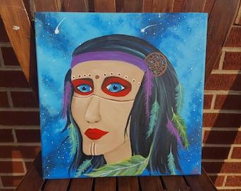 "Hand painted OOAK ""Gypsy Soul"" Acrylic painting. 12x12 canvas. Gypsy. Galaxy. Dreamcatcher. Boho. Acrylic Art. Original painting."