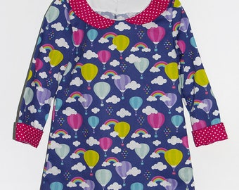 Hot air balloon dress in printed cotton and velvet dots