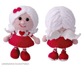 125 Crochet Pattern - Girl doll in a Valentine outfit - Amigurumi PDF file by Stelmakhova Etsy