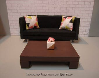 1:12 scale Modern Dollhouse Coffee Table in Espresso Brown