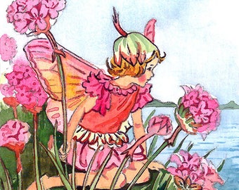 ACEO Limited Edition 1/25- Thrift flower fairy inspired by Cicely Mary Barker, Art print of original watercolor, Wild flowers