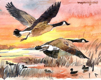 ACEO Limited Edition 2/25- Flying over sunset, Canada geese art print of an original watercolor, Gift for bird lovers