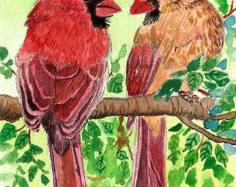 ACEO Original watercolor painting- Perfect duo, Cardinals, Cute bird, Gift for bird lovers, Miniature painting, Gift idea for her