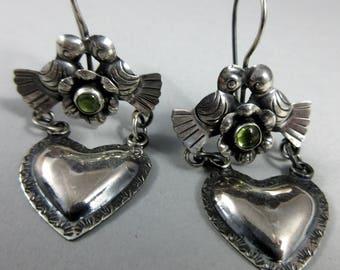 FEDERICO JIMENEZ~Subtle~Oaxaca Kissing Doves with Peridot~Hearts~925 Earrings