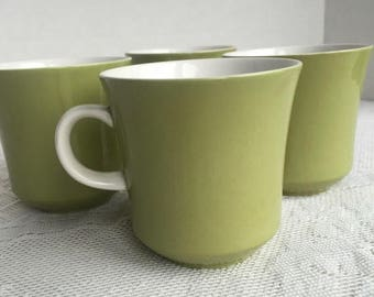 Wedding Sale Vintage Ceramic Lime Green Mikasa Cups / Cera Stone Teacups Made in Japan