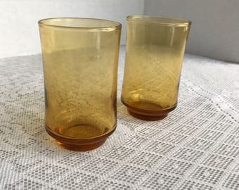 Vintage Amber Juice Glasses by Libbey Glass / Yellow Glassware Tumblers