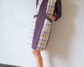Tweed purple dress REBECCA