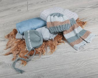 Photo Prop Set for newborns and babies, Blue and Tan, Curly wool blanket, wraps, Layers & more.