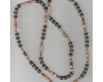 One-of-a-kind Handmade Paper Bead Necklace with Round gold beads, Black Pony Beads